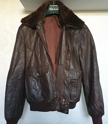 Men's Brown Pilot Aviator Real Leather Flight Bomber Jacket Vintage