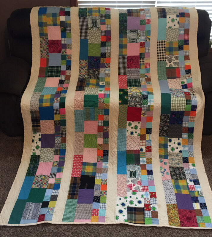 "Vintage Quilt Hand Made Patchwork Embroidered Blocks 66""W X 88""L"