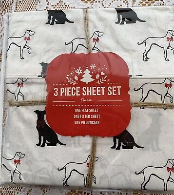 NEW Winter Holiday Black White Dogs TWIN Sheet Set 3 Pc Bedding