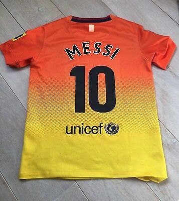 Authentic Barcelona 2012-13 MESSI 10 Boys 8-10 Years Away Football Shirt VGC