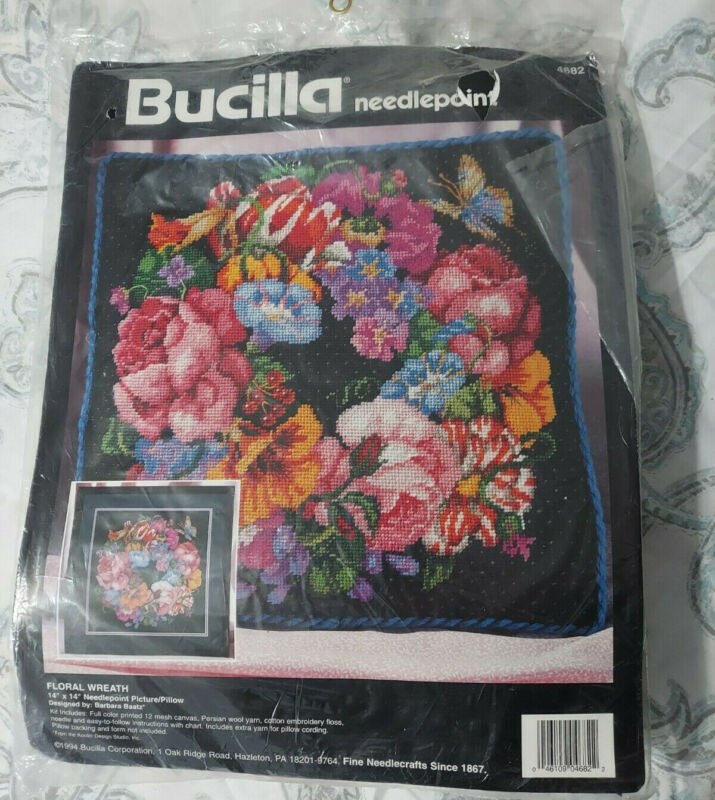 """Bucilla Needlepoint Picture Pillow Kit Floral Wreath 14""""x14"""" Package 4682"""