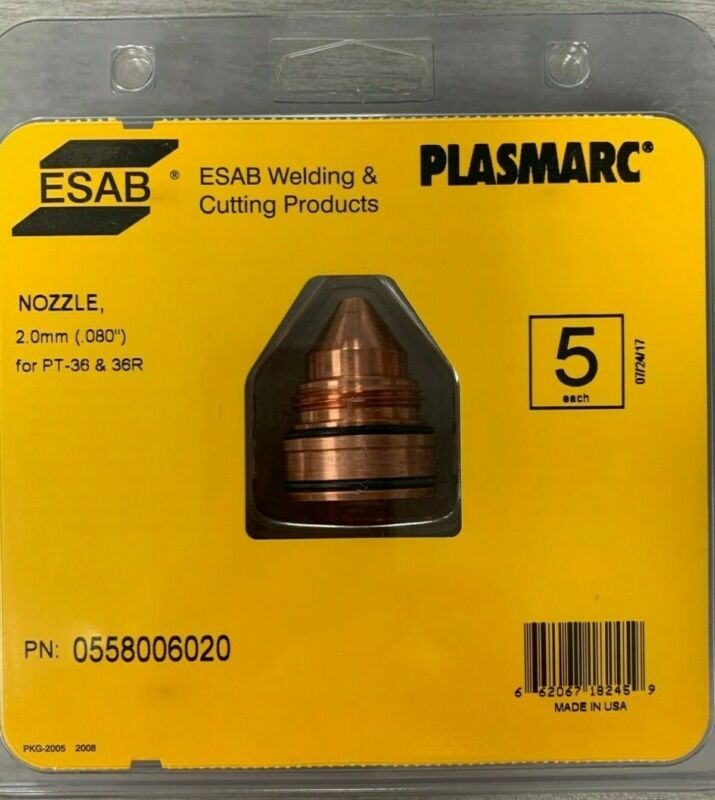 "ESAB 0558006020 Plasmarc Nozzle 2.0mm(.080"") For PT-36/36R Pack of 5"