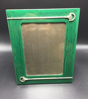 Gucci Italy Vintage Green Malachite Color Lacquer Horse Bit Picture Frame