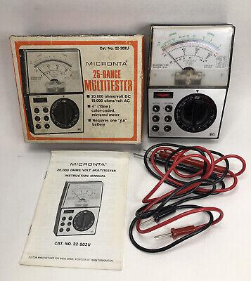 Radio Shack Micronta 22-202u 25 Range Multitester With Leads Instructions Box