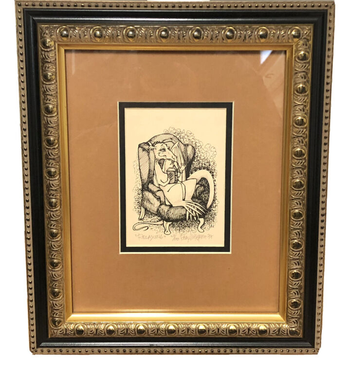 """1977 Real Musgrave """"RELAXING"""" Pocket Dragons Artist 29/100 Signed Numbered"""