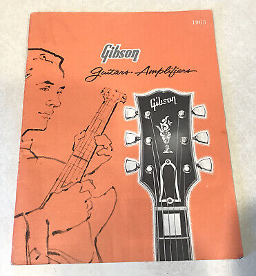GIBSON Electric Guitars Amplifiers Catalog 1963 Les Paul Vintage Illust. RARE