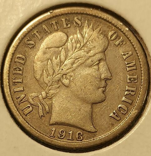 1916s Barber Dime Very Little Ware...almost Looks Unc..just A Rare Grade In This - $15.50