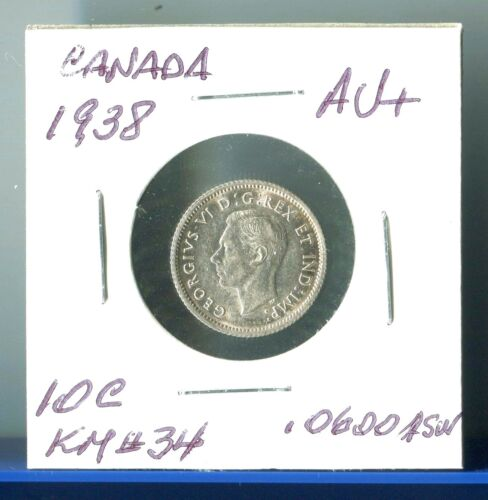 1938 Canada Silver 10 Cents KM #34 King George V I ... Ten Cents