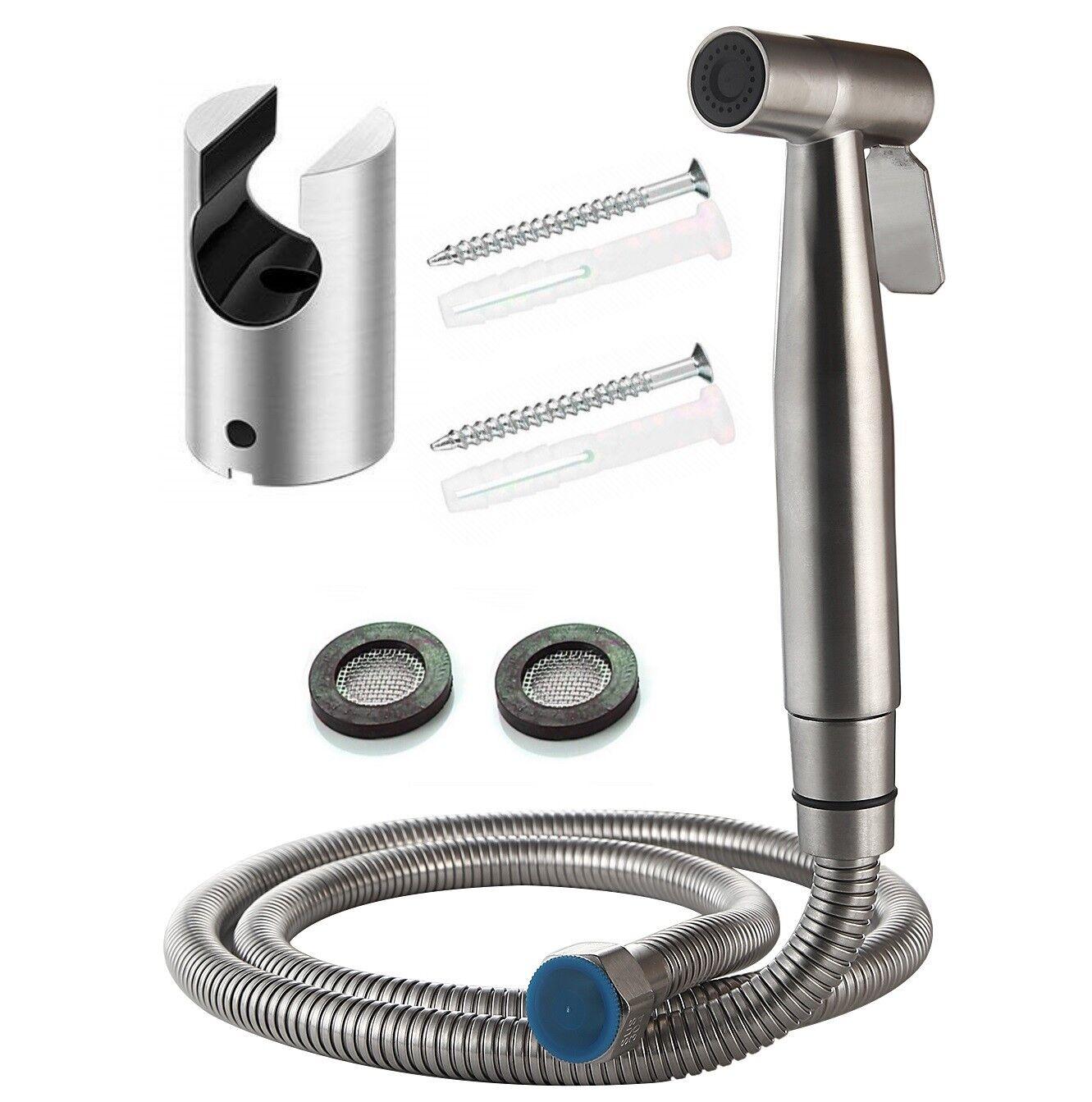 Bidet Brause Set Schlauch + Halter Dusche Edelstahl Hand WC Duschkopf Hygiene Po