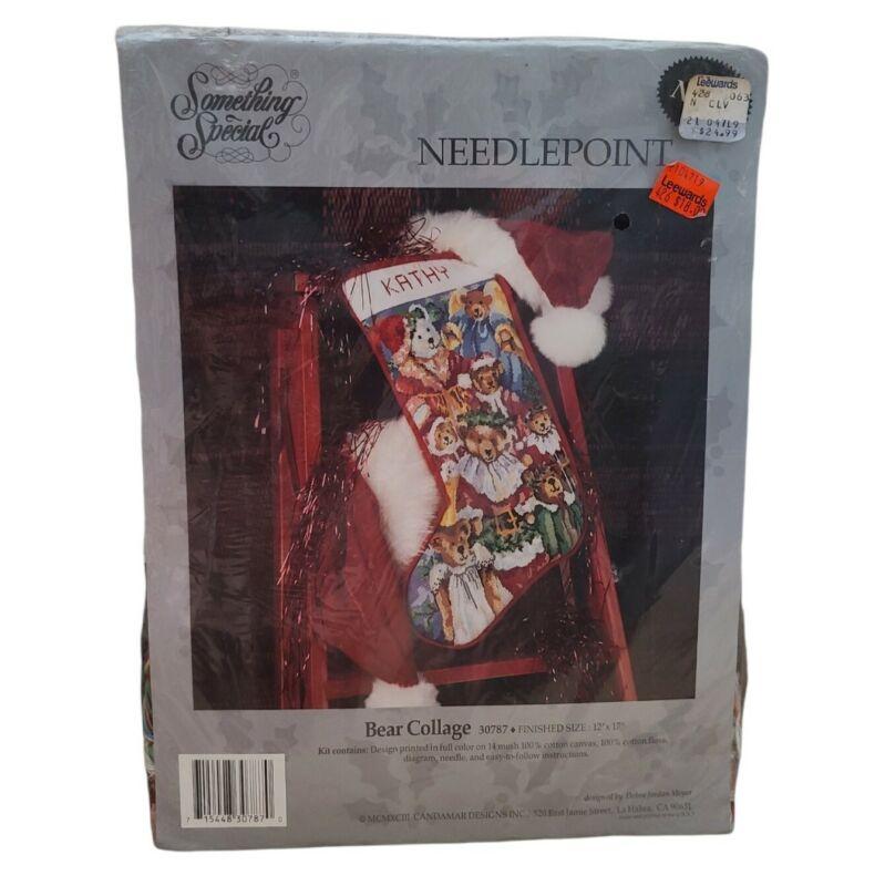 Something Special Bear Collage Needlepoint Kit 12x17 Christmas Stocking NEW