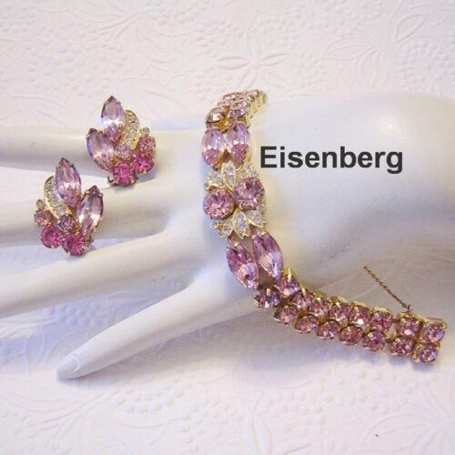 1962 EISENBERG Pink Rhinestones & Floral ICING Bracelet & Earrings