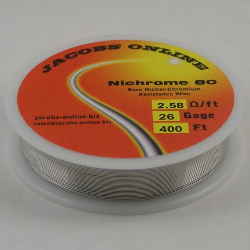 Nichrome 80 resistance wire (Nichrome V, Chromel A), 26 gauge, 400 feet