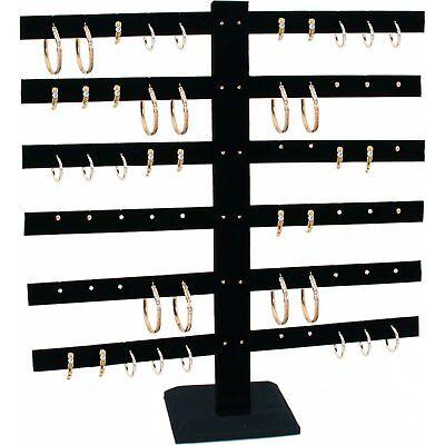 Black Velvet 6 Tier T-bar Earring Display Stand 2 Pcs