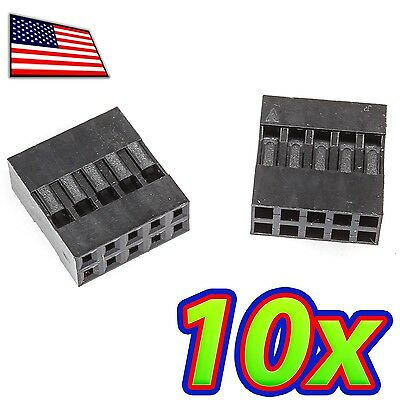 10x Dupont Wire Jumper Pin Header Connector Housing - 2x5 - Male Female