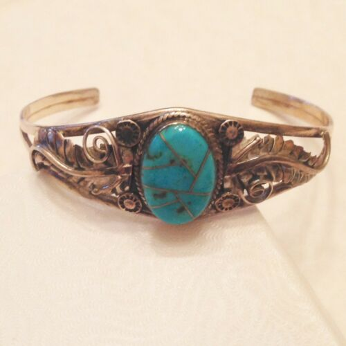 Southwest Turquoise Cabochon Inlay Cuff Bracelet - Sterling Silver
