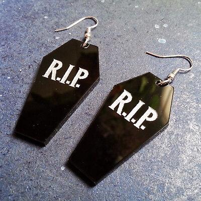 Groß Halloween Rip Schwarz Sarg Baumeln Stil Vampir Gothic Ohrringe Kostüm