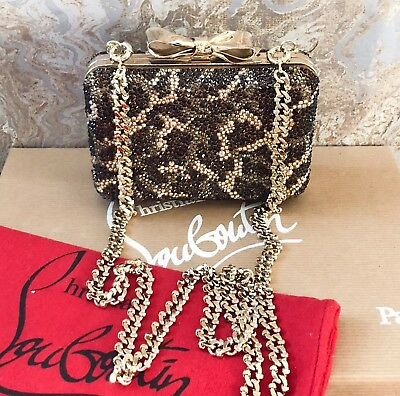 Christian Louboutin Metallic Fiocco Crystal Strass Clutch