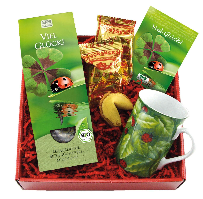 Tee-Geschenkset Glück mit Bioee, Tasse, Glückskekse, Glückskleezwiebelchen
