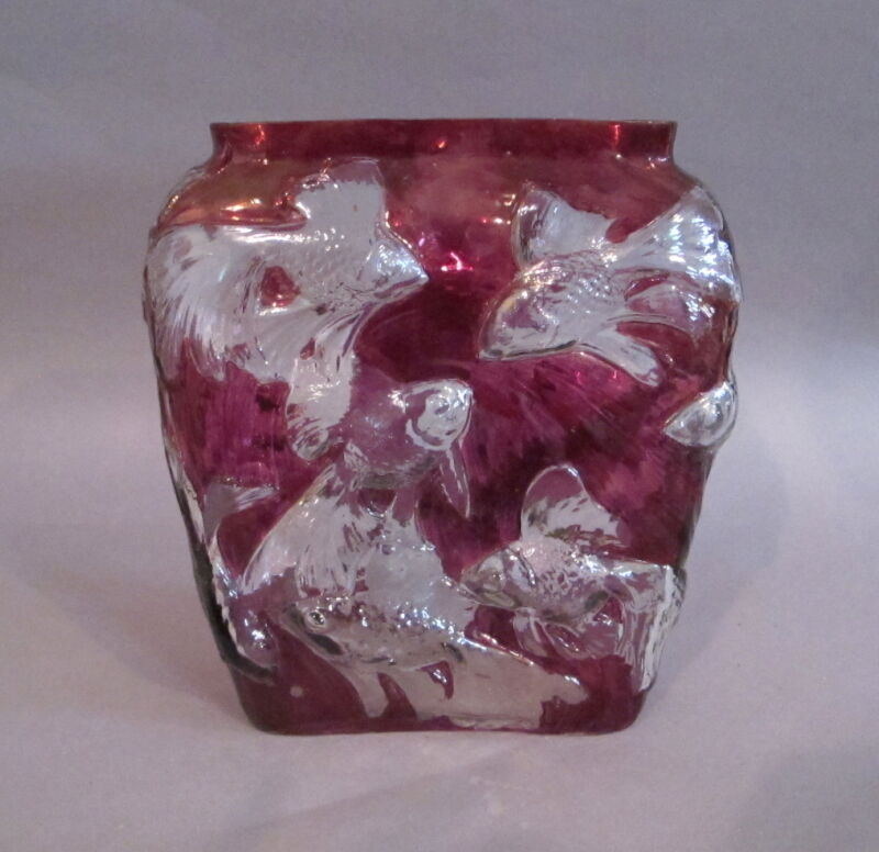 Tropical Fish Cranberry Flash Art Glass Vase by Consolidated Glass