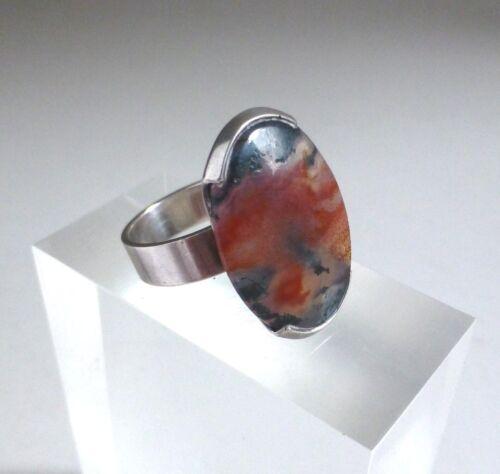 Kupittaan Kulta Oy Finland Vintage Modernist 925 Silver Agate Ring. Size M