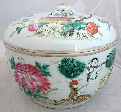 """Antique Chinese Famille Rose Lidded Container w/ Deer, Crane & Marks  (5.15"""")"""