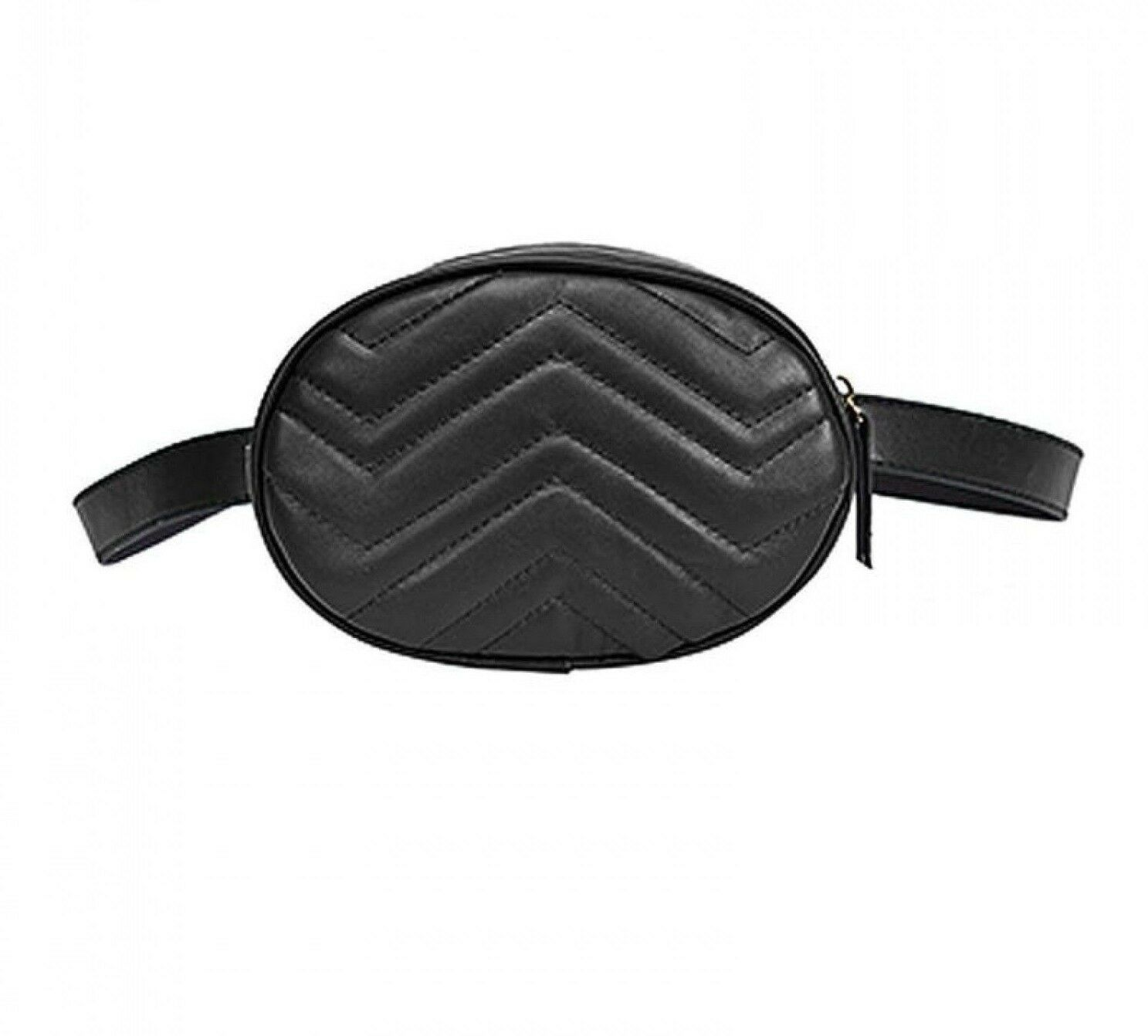 Women Leather Waist Chest Fanny Pack Wave Pattern Travel Pho