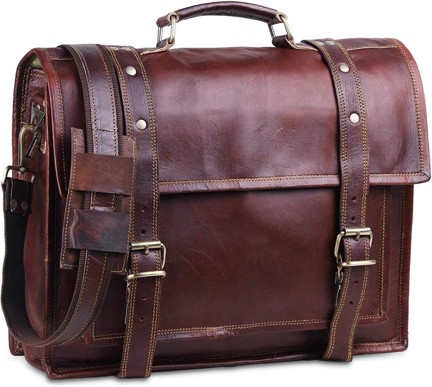 Leather Briefcase,Brown Leather Briefcase Leather bag Mens Briefcase Laptop Bag Shoulder Bag Gift for Him Mens Leather Briefcase