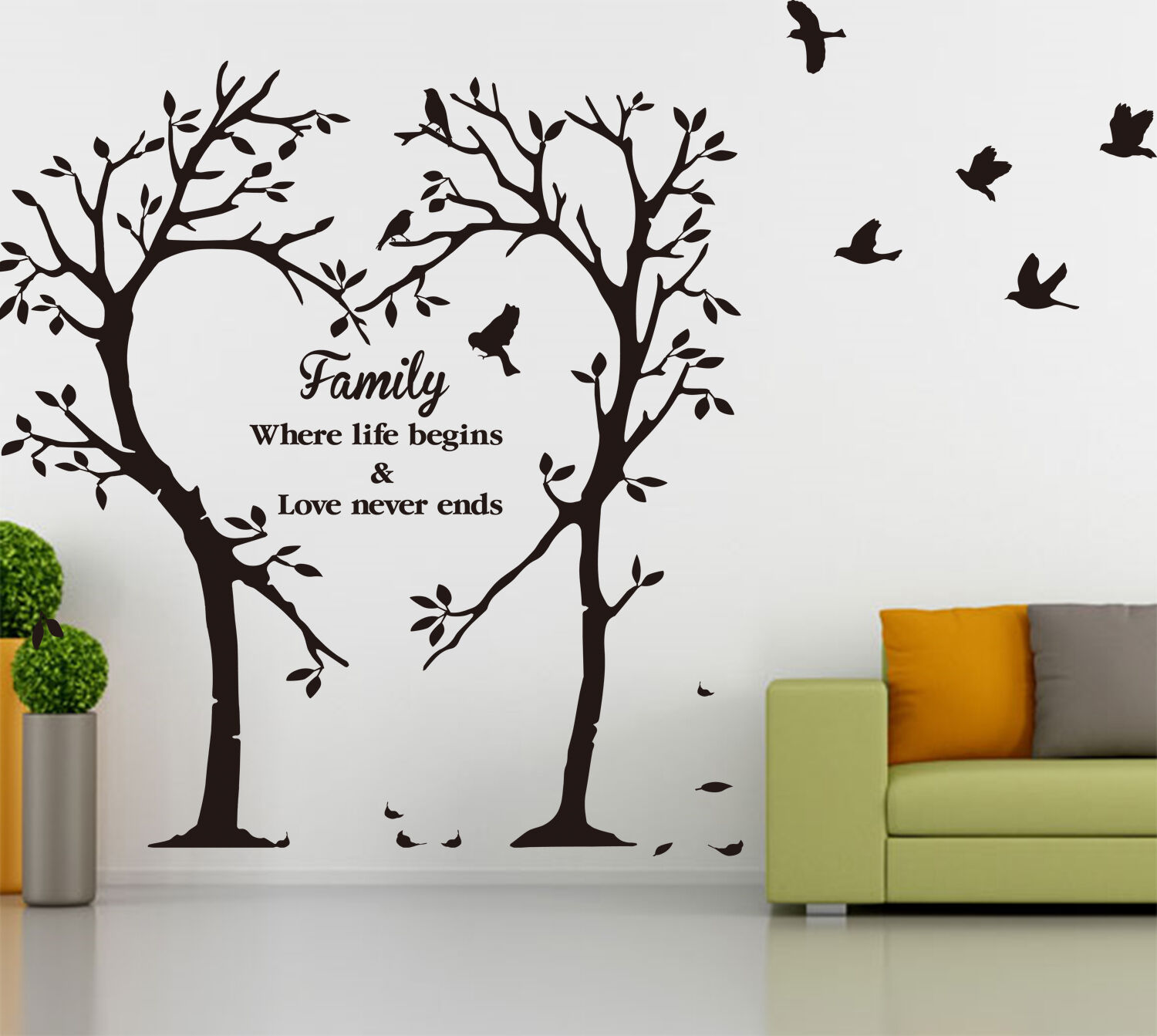 Family inspirational love tree wall art sticker wall for Inspiring dollar tree wall decals