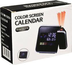 Color Screen Calendar, Projector Clock, Date, Alarm, Time, Humidity, Temperature