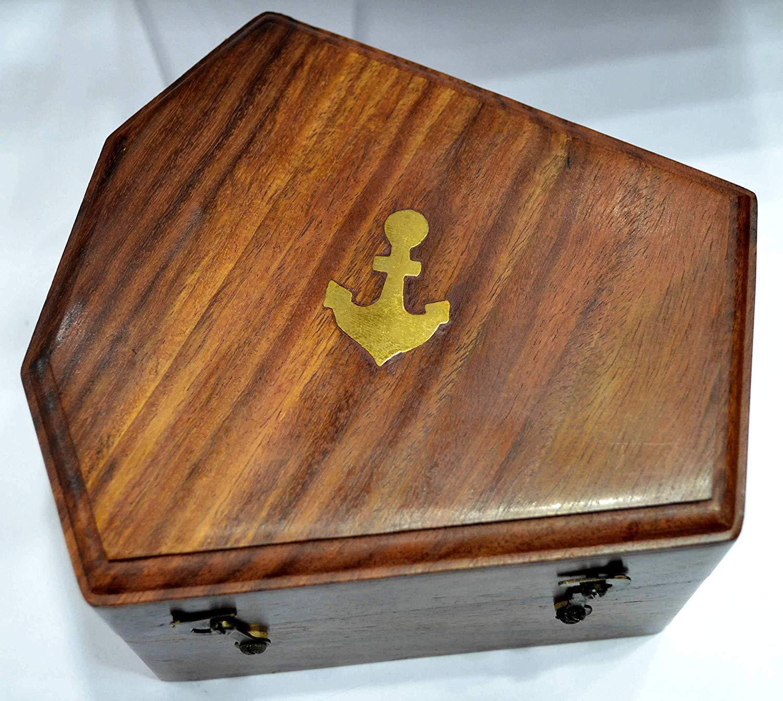 New Marine Sextant W/ Wooden Box Nautical Boat Sailing Sea Navigation Instrument