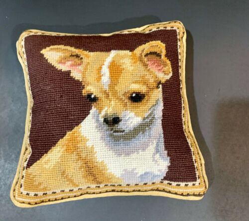 """fawn chihuahua needlepoint 10"""" accent pillow"""