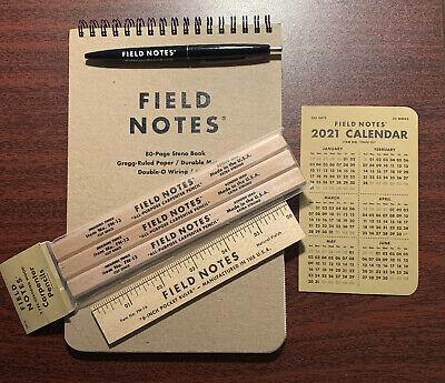 Field Notes Lot Steno Notebook Book Carpenter Pencils Ruler Pen Calendar Kit New