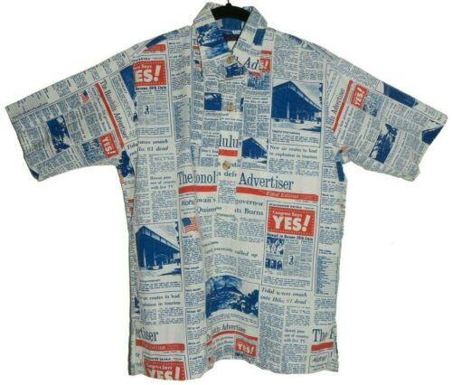 Vintage Aloha Shirt Honolulu Advertiser Newspaper Action Sportswear Medium