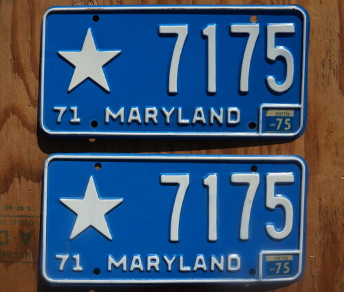 1971 - 1975 Maryland STAR License Plate PAIR / SET   # 7175
