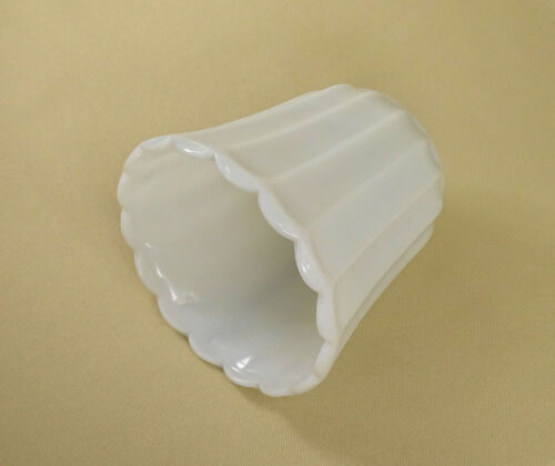 MG08 Vintage Milk Glass Ribbed Vases and or Planter with Scalloped Edge.