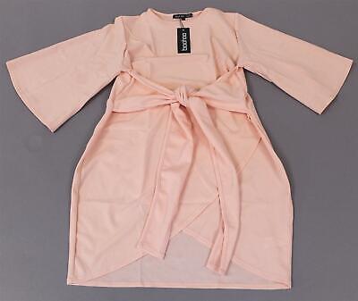 Boohoo Women's Plus Kimono Sleeve Tie Waist Wrap Dress BF5 Blush Size US 14 NWT