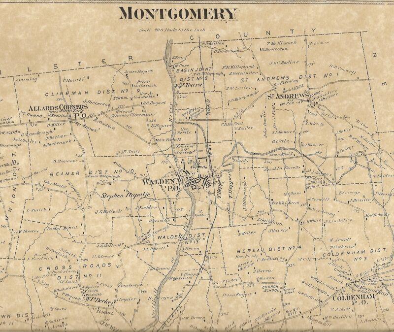 Montgomery Walden John Wayne Airport NY 1875 Map with Homeowners Names Shown