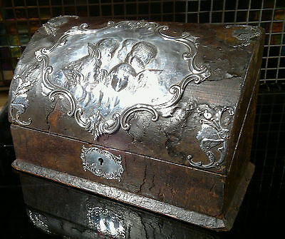 Antique1902 Silver William Comyns Leather Bound Letter Box Repousse Angels