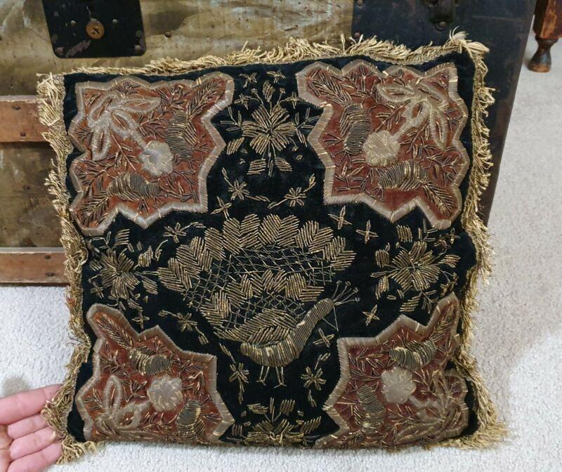 Antique Victorian black velvet wire embroidery stumpwork Pillow peacock design