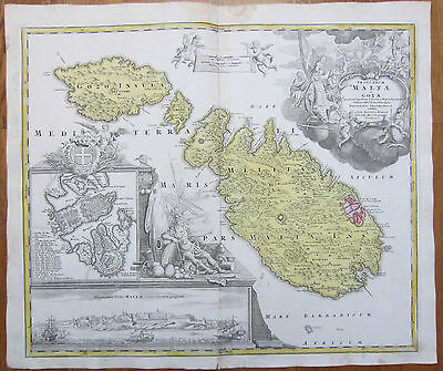 Homann Original Map Malta and Gozo Insularum Maltae - 1720