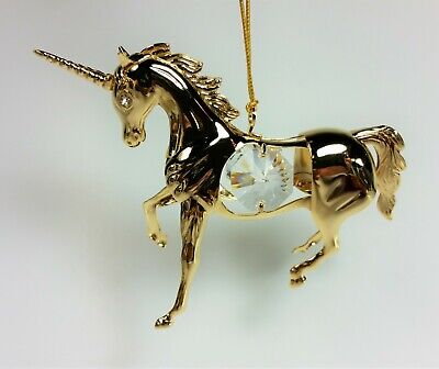 SWAROVSKI CRYSTAL ELEMENTS STUDDED UNICORN FIGURINE ORNAMENT 24K GOLD PLATED