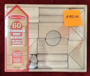 "Wooden Top Quality Toy Blocks by ""Melissa and Doug"", 60 pc."