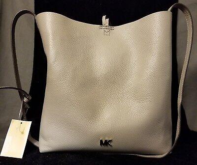 NWT Michael Kors Handbag Junie Messenger Leather Pearl Grey
