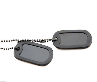 - Black Tactical Military Spec Army ID Dog Tag Set w/Ball Chains & Silencers