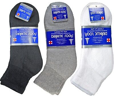 3-12 Pairs Diabetic Ankle Quarter Crew Socks Health Cotton Men Women -
