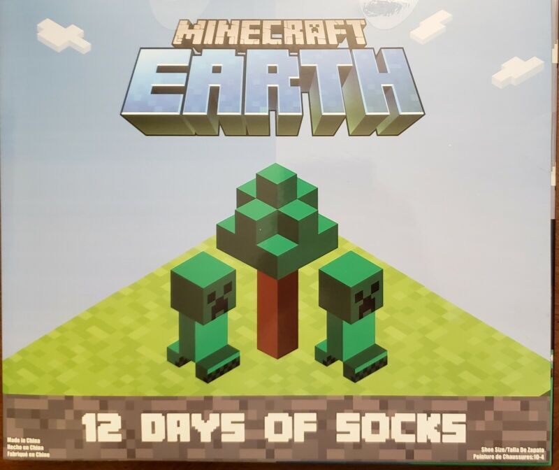 Minecraft Earth Advent 12 Days Of Socks fits Shoes Size 10-4 Boys Variety Pack