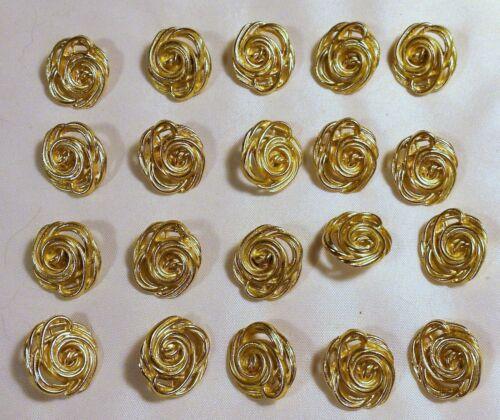 "20 Vtg JHB International Gold Tone Metal Swirl Wire Rose BUTTONS 3/4"""