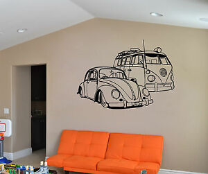 VW-Camper-Van-And-VW-Beatle-Car-Wall-Art-Sticker-Vinyl-Mural-WA520