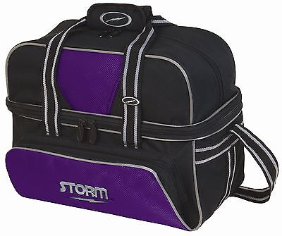 Storm 2 Ball Deluxe Shoulder Tote Bowling Bag with Shoe Pocket Purple