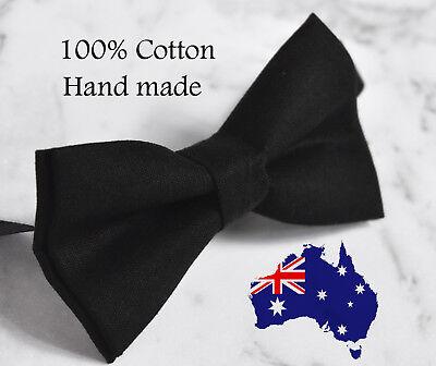 Solid Matte (Men Women 100% Cotton Matte Black  Solid Craft Bow Tie Bowtie Wedding Party)